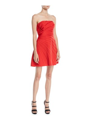 Halston Strapless Mini Dress w/ Satin Strip Appliqué