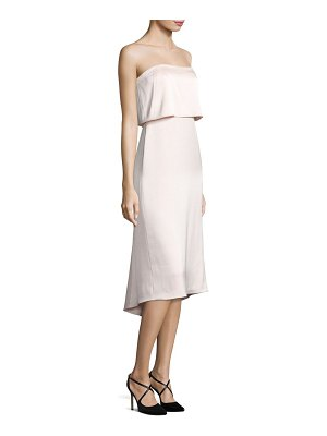 Halston Strapless Popover Satin Dress