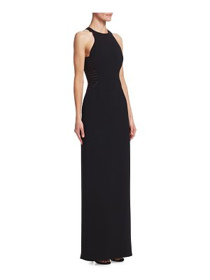 Halston stripe applique halter gown
