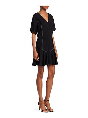 Halston v-neck flounce mini dress
