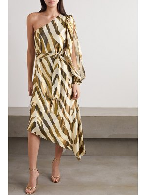 HANEY annika metallic zebra-print silk and lurex blend dress