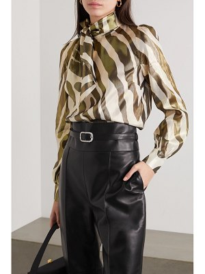 HANEY billie metallic zebra-print silk and lurex-blend blouse