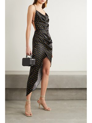 HANEY holly open-back draped polka-dot stretch-silk satin dress