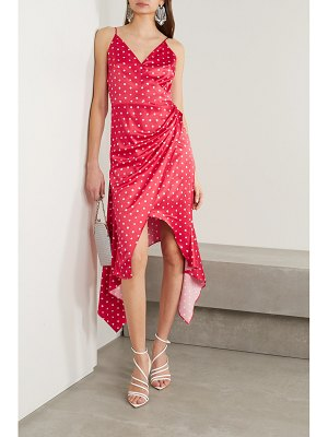 HANEY olivia asymmetric wrap-effect polka-dot satin dress