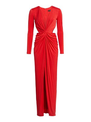 HANEY ruched jersey cutout gown