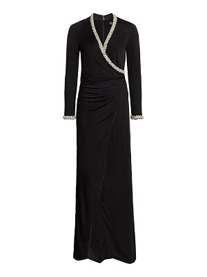 HANEY tatum crystal trim faux-wrap gown