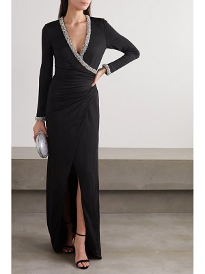 HANEY tatum ruched wrap-effect crystal-embellished crepe gown