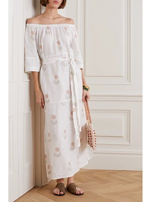 Hannah Artwear elba off-the-shoulder belted floral-print linen maxi dress
