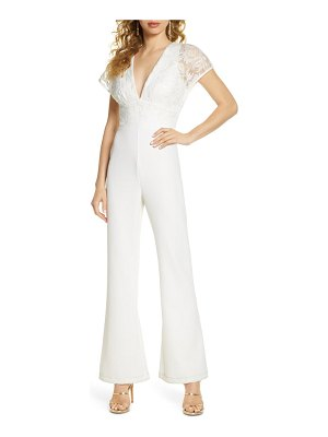 Harlyn embroidered bodice flare leg jumpsuit