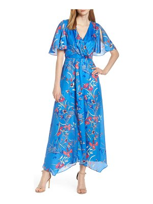 Harlyn printed flutter sleeve gown