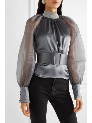 HARMUR open-back belted crystal-embellished silk-satin and tulle blouse