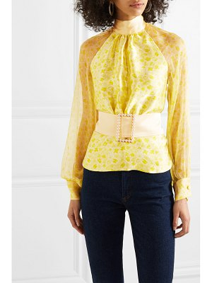 HARMUR open-back floral-print silk-satin and crepon blouse