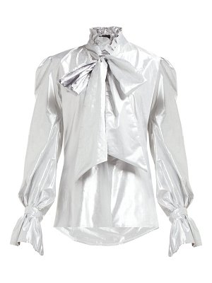 Harris Reed pussy bow metallic blouse