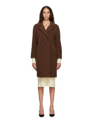 Harris Wharf London brown shearling double breasted coat