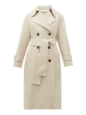 Harris Wharf London double breasted pressed wool trench coat