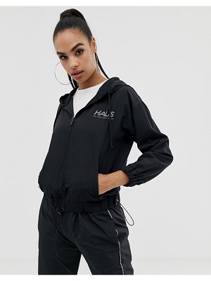 Haus by Hoxton Haus zip up logo track jacket in black