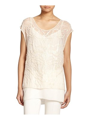 Haute Hippie embellished silk tree of life tunic blouse