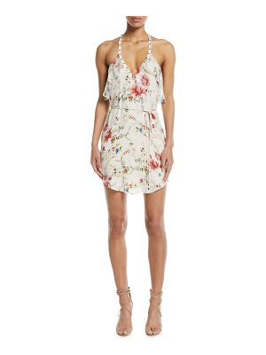 Haute Hippie Narrow Escape V-Neck Sleeveless Floral-Print Silk Dress