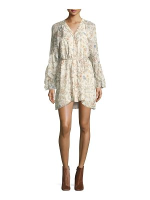 Haute Hippie Romani Floral-Print Silk Ruffle Dress