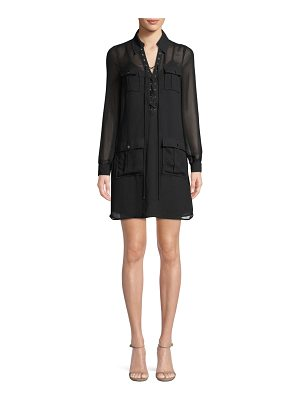 Haute Hippie She Too Will Rise Lace-Up Long-Sleeve Dress