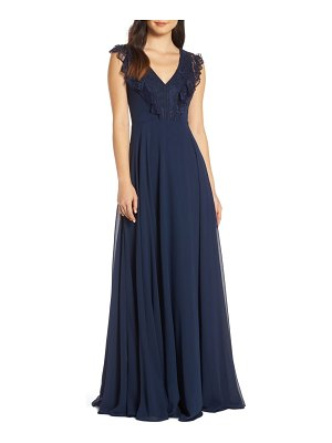 Hayley Paige Occasions lace v-neck chiffon evening dress