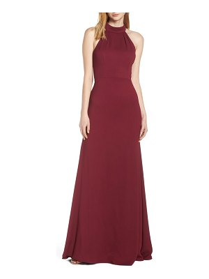 Hayley Paige Occasions mock neck strappy back crepe evening dress