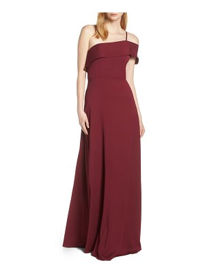 Hayley Paige Occasions one cold shoulder crepe evening dress