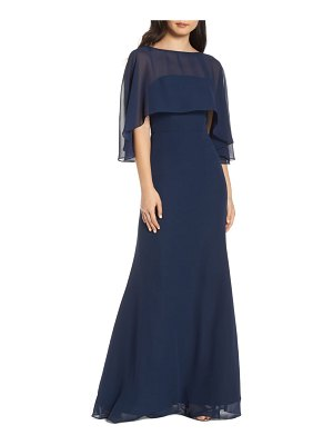 Hayley Paige Occasions strapless chiffon evening dress with cape