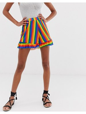 Heartbreak frilled shorts in rainbow-multi