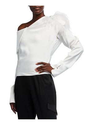 Hellessy Aube Asymmetric Draped Top with Feathers