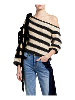 Hellessy Balti Striped Off-The-Shoulder Knit Sweater
