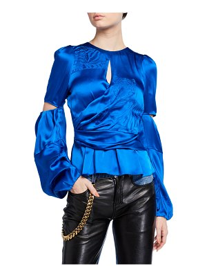 Hellessy Celeste Draped Satin Blouse