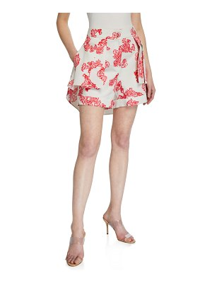 Hellessy Floral Print Shorts with Overskirt