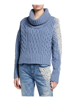 Hellessy Pearly Stud Cable-Knit Sweater