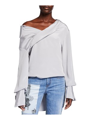 Hellessy Stella Off-Shoulder Silk Top
