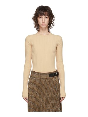 Helmut Lang beige ribbed crewneck sweater
