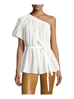 Helmut Lang Belted Shirred One-Shoulder Top
