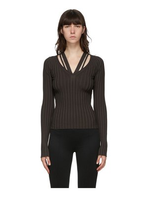 Helmut Lang brown strappy v-neck sweater