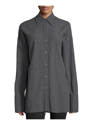 Helmut Lang Check Point-Collar Button-Front Oversized Shirt