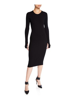 Helmut Lang Crewneck Long-Sleeve Rib-Knit Dress