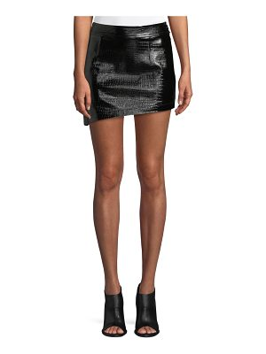 Helmut Lang Croc-Embossed Leather Mini Skirt