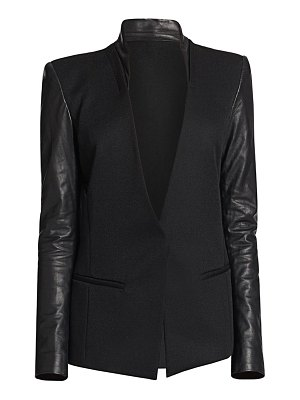 Helmut Lang crux leather-sleeved wool blazer