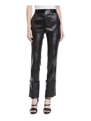 Helmut Lang Extreme Turn Up Lacquered High-Rise Faux-Leather Trousers