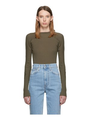 Helmut Lang green rib knit crewneck sweater