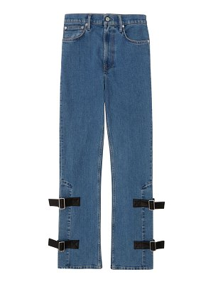 Helmut Lang high-rise strap detail bootleg jeans