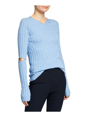 Helmut Lang Ribbed V-Neck Sweater with Slash Details