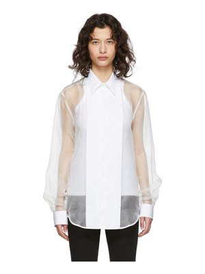 Helmut Lang white sheer tux shirt