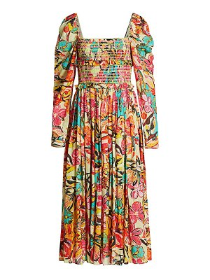Hemant & Nandita aroha puff sleeve midi dress