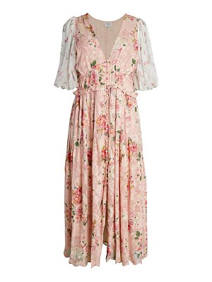 Hemant & Nandita Floral Puff-Sleeve Midi Dress