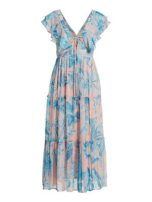 Hemant & Nandita flutter-sleeve tropical print midi dress
